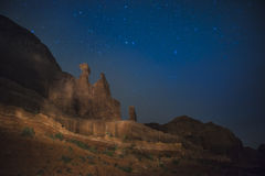 Courthouse Towers Desert Landscape at night Royalty Free Stock Photos