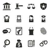 Courthouse Trial Icons Royalty Free Stock Images