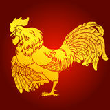 Courting rooster gold on red background Stock Images