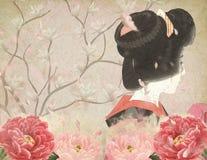 Courtisane japonaise - cru Japon - Cherry Blossoms - pivoine - exposé introductif - japonais illustration de vecteur