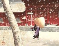 Courtisane japonaise de cru - scène de ville de Milou - scène de rue - Japon - XVIIIème siècle illustration stock