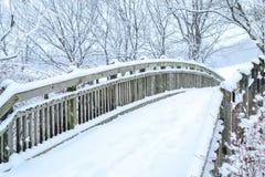 Courtisez le pont avec la neige de fond l'hiver Images libres de droits