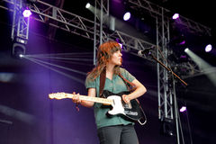 Courtney Barnett (singer and electric guitar player) in concert at Heineken Primavera Sound 2014 Festival Royalty Free Stock Image