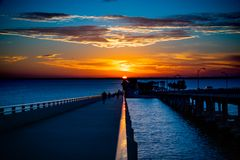 Courtney Campbell Bridge Sunset photographie stock libre de droits