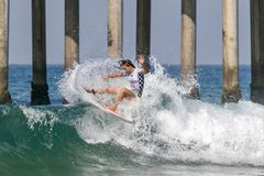 Courtney Conlogue surfing in the Vans US Open of Surfing 2018 Royalty Free Stock Photography