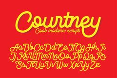 Courtney cool modern script font. Courtney cool and modern script font, monolinear with cut sharp ends.nnCan be used for your various design projects such as Stock Photo