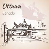 Courtoisie de canal d'Ottawa Rideau Ottawa et carte Images stock