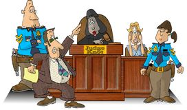 Courtroom I. This illustration that I created depicts a courtroom with a judge, attorney, witness and two bailiffs Royalty Free Stock Photography