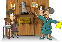 Courtroom II. This illustration that I created depicts a courtroom with a judge, attorney, witness and court reporter Stock Photos