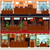 Courtroom interior concept vector flat poster set royalty free illustration
