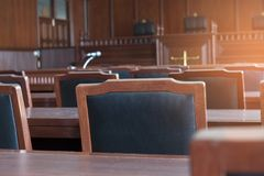 Courtroom of the judiciary. Table and chair in the courtroom of the judiciary royalty free stock photos