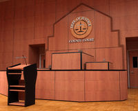 Courtroom, Law, Lawsuit, Litigation, Judgement. Illustration of a county courtroom. The court has a stand for the judge and a witness stand. A lawsuit stock photos