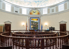 Courtroom, Pershing County, Nevada courthouse. Circular courtroom in the historic Pershing County Courthouse, Lovelock, Nevada stock photo