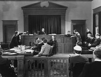 Courtroom scene. (All persons depicted are no longer living and no estate exists. Supplier grants that there will be no model release issues royalty free stock image