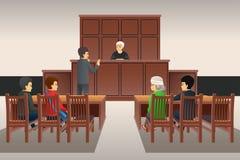 Courtroom Scene Illustration stock photography