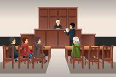 Courtroom Scene Illustration stock images