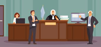 Courtroom session vector. Court session with judge, Secretary, Prosecutor and lawyer. Courtroom, vector illustration royalty free illustration
