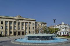 Courts of justice in Ruse town with big fountain in front Stock Image