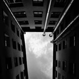 Courtyard. A view to the sky from the courtyard in St.Petersburg Royalty Free Stock Photos