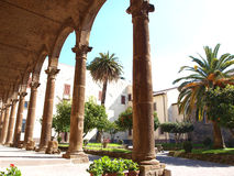 Courtyard. Old courtyard in St.Nilo's church in Grottaferrata, Italy Stock Photography