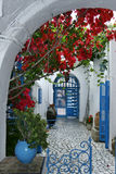 Courtyard. An old harem house in the artist village, Sidi Bou Said in Tunisia. It is a museum today royalty free stock photography