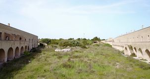 Courtyard of abandoned medieval castle in Brindisi, Italy stock footage