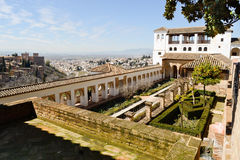 Courtyard of the acequia in Generalife, Alhambra, Granada. Andalucia, Spain stock photography