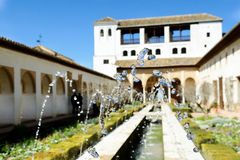 Courtyard of the acequia in Generalife, Alhambra, Granada Stock Images