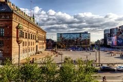 Courtyard across Radhus stock photos