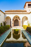 Courtyard at Alcazaba of Malaga in Andalusia, Spain. Beautiful and ancient architecture from muslims Stock Photo