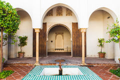 Courtyard of Alcazaba of Malaga. Muslim architecture in Andalusia, (Spain Royalty Free Stock Photography