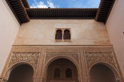 Courtyard in Alhambra palace in Granada Royalty Free Stock Photography