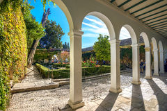 Courtyard of Alhambra palace. Granada, Andalusia, Spain royalty free stock photography