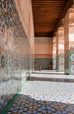 Courtyard of Ali Ben Youssef Madrasa. Architectural details of Courtyard of Ali Ben Youssef Madrasa, Marrakech, Morocco Stock Photo