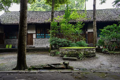 Courtyard of ancient Chinese dwelling building after summer rain Royalty Free Stock Images