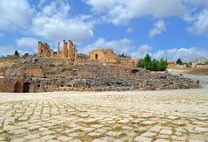The Courtyard. Ancient ruins of Jerash, Jordan royalty free stock images