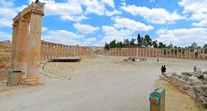 The Courtyard. Ancient ruins of Jerash, Jordan royalty free stock image