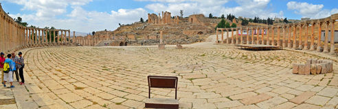 Courtyard. Ancient ruins of Jerash, Jordan stock photo