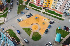 Courtyard of apartment building in the city, the view from above Royalty Free Stock Photos