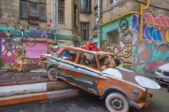 The courtyard of an apartment house with graffiti, St. Petersburg, Russia Stock Photography