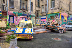 The courtyard of an apartment house with graffiti, St. Petersburg, Russia Stock Image