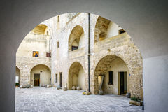 Courtyard of Aragonese castle in Otranto, Apulia, Italy. Courtyard of Aragonese castle in Otranto which is used as museum, Apulia, Italy Stock Images