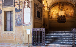Courtyard of Archiginnasio palace in Bologna Stock Photo