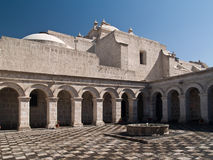 Courtyard at Arequipa, Peru. Courtyard of the Church of the company of Jesus at Arequipa, Peru Royalty Free Stock Photo