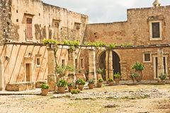 Courtyard of Arkadi Monastery. Royalty Free Stock Photo