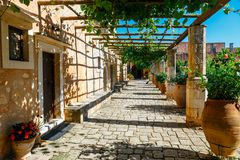 The courtyard of Arkadi Monastery on Crete royalty free stock photos