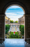 Courtyard artistic view of the hotel Dieu in Paris near Notre-Dame Royalty Free Illustration