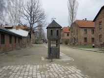 Courtyard in Auschwitiz. Concentration camp Stock Photo