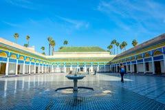 Courtyard of Bahia palace, Marrakech. MARRAKECH, MOROCCO - DECEMBER 11: Backyard of Bahia palace and water fountain in Marrakech. December 2016 Stock Images