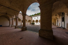 Courtyard at the Basilica Saint Ubaldo, Gubbio, Italy Royalty Free Stock Photos